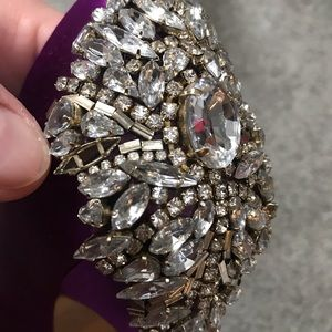 Badgley Mischka Shoes - Badgley Mischka Kiara Purple Satin Peep Toe Pumps
